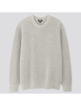 Pull Grosses Mailles GoufrÉes Col Rond Homme by Uniqlo