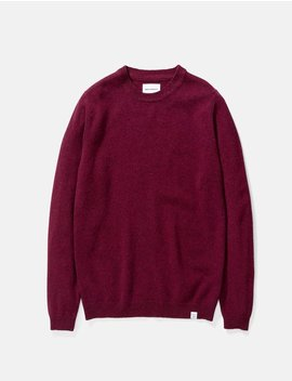 Norse Projects Sigfred Lambswool Knit Sweatshirt   Mulberry Red by Garmentory