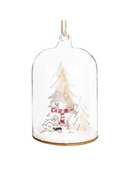 Snow Coated Scene Under Glass Bell Jar Hanging Decoration by Maisons Du Monde