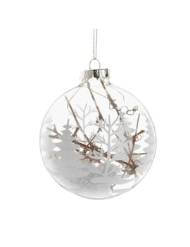 Glass Christmas Bauble With White Christmas Tree Print And Branches by Maisons Du Monde