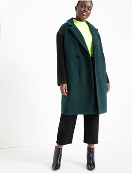Double Breasted Colorblock Coat by Eloquii