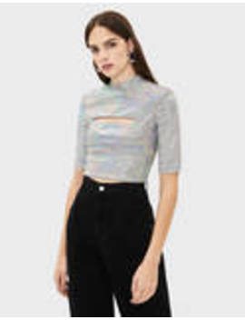 Tidal X Bershka Top With Mirrored Sequins And A Slit by Bershka