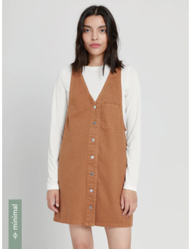 Good Cotton Denim Pinafore In Rusted Brown by Frank & Oak