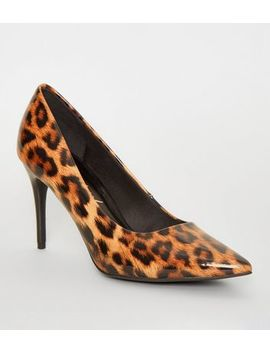 Stone Patent Leopard Print Stiletto Courts by New Look
