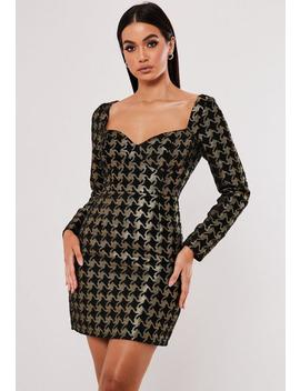 Gold Dogtooth Jacquard Long Sleeve Bustier Mini Dress by Missguided