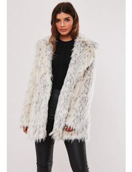Premium Cream Spot Faux Fur Coat by Missguided