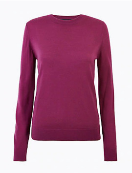 Pure Merino Wool Round Neck Jumper by Standard Delivery: