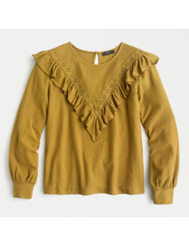 Ruffle Trim Honeycomb Knit Cotton Top by J.Crew