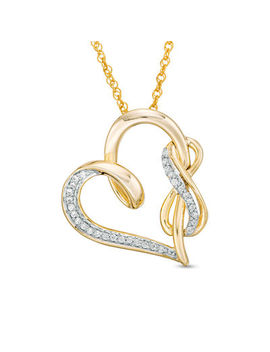1/8 Ct. T.W. Diamond Infinity And Swirl Heart Pendant In Sterling Silver With 14 K Gold Plate by Online Exclusive Brilliant Value