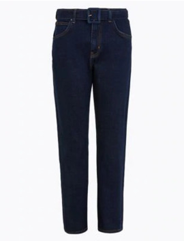 Belted Tapered Jeans by Marks & Spencer