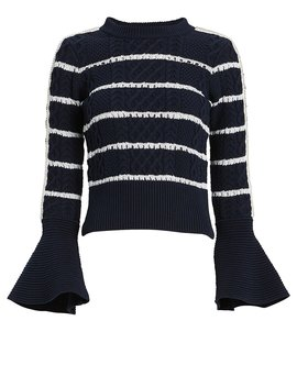 Striped Cable Knit Sweater by Self Portrait