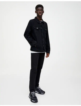 Black Denim Jacket With Lining by Pull & Bear