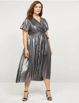 Metallic Pleated Faux Wrap Dress by Lane Bryant