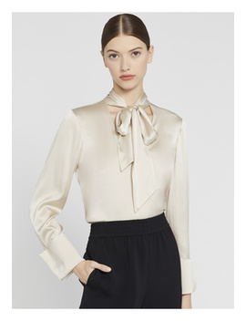 Rosina Tie Neck Blouse by Alice And Olivia