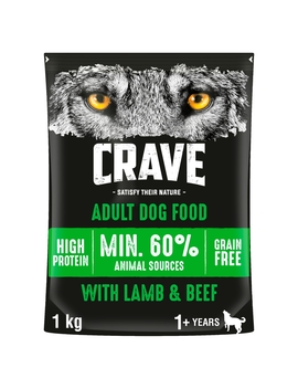 Crave Natural Complete Dry Dog Food Lamb & Beef 1kg Crave Natural Complete Dry Dog Food Lamb & Beef 1kg by Wilko