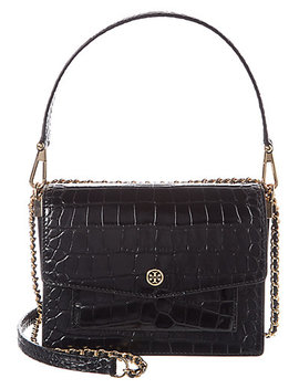 Tory Burch Robinson Convertible Croc Embossed Leather & Suede Shoulder Bag by Tory Burch