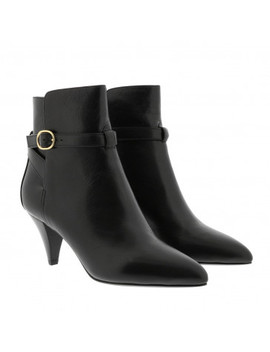 Triangle Heel Jodhpur Ankle Boots Calfskin Black by Celine