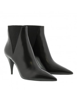 Kiki Ankle Boots Leather Black by Saint Laurent