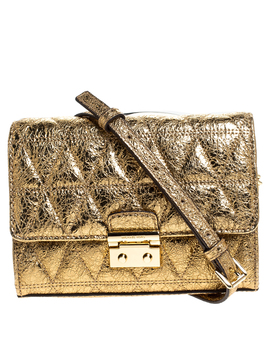 Michael Kors Metallic Gold Quilted Leather Crossbody Bag by The Luxury Closet