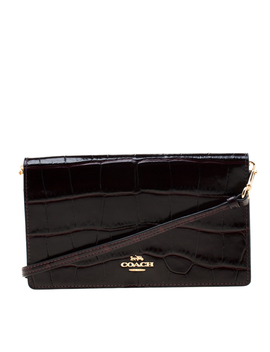 Coach Burgundy Croc Embossed Leather Clutch Bag by The Luxury Closet
