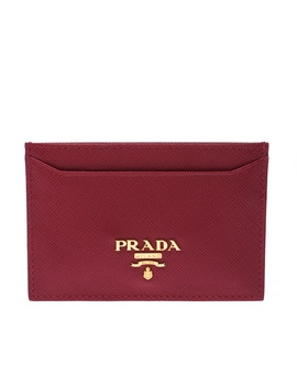 Prada Red Saffiano Leather Card Holder by The Luxury Closet