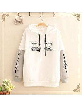 Kawaii Fairyland   Color Block Sleeve Cat Print Fleece Lined Hoodie by Kawaii Fairyland