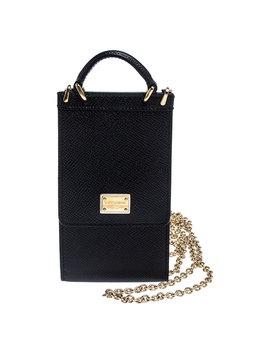 Dolce And Gabbana Black Leather Miss Sicily Phone Holder Crossbody Bag by The Luxury Closet