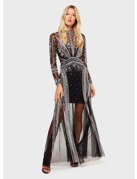Black Embelished High Neck Maxi Dress by Miss Selfridge