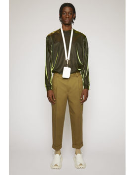 Cropped Tapered Fit Trousers Olive Green by Acne Studios