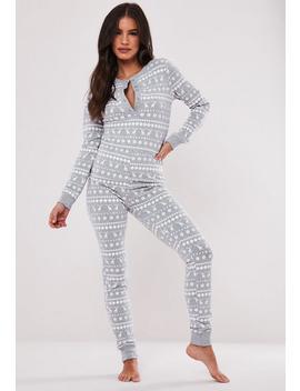 Grey Fairilse Christmas Loungewear Onesie by Missguided