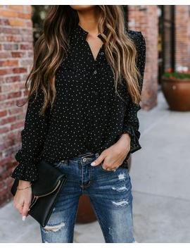 Aspire To Inspire Polka Dot Ruffle Top by Vici