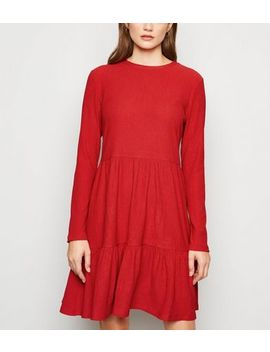 Red Long Sleeve Tiered Smock Dress by New Look