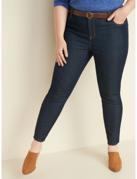 Mid Rise Dark Wash Plus Size Super Skinny Ankle Jeans by Old Navy
