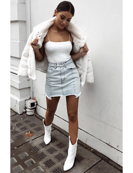 Losing My Way Mini Skirt Light Blue by White Fox