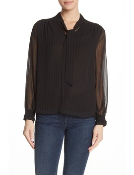 Chiffon Tie Front Poet Sleeve Blouse by Pleione