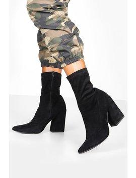 Block Heel Stretch Sock Boots by Boohoo