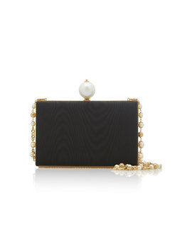Faux Pearl Embellished Leather Clutch by Dolce & Gabbana