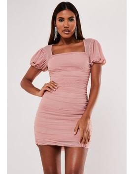 Blush Mesh Puff Sleeve Milkmaid Mini Dress by Missguided