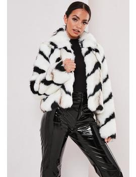 White Monochrome Chevron Faux Fur Coat by Missguided