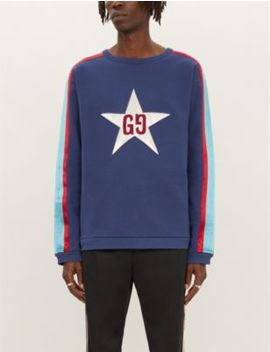 Star Appliquéd Cotton Jersey Sweatshirt by Gucci
