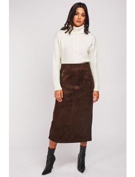 Suedette Midi Skirt by Everything5 Pounds