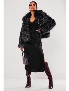 Premium Black Tipped Faux Fur Coat by Missguided