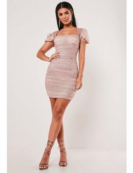 Blush Glitter Mesh Ruched Puff Sleeve Bodycon Mini Dress by Missguided