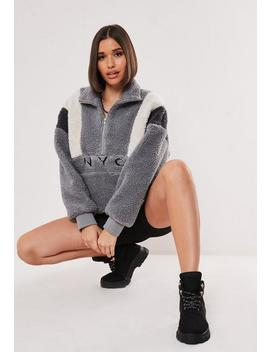 Grey Colourblock Nyc Overhead Teddy Jacket by Missguided
