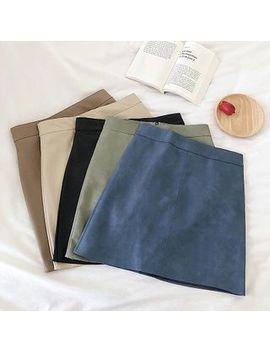 Diyi   Plain High Waist Faux Leather A Line Skirt by Diyi