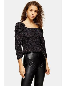 Petite Black Spot Ruched Prairie Blouse by Topshop