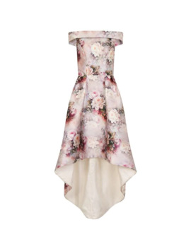 Floral Print Dip Hem Dress by Chi Chi