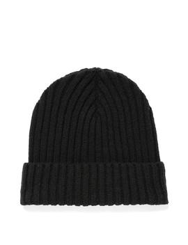 Lambswool Rib Hat In Black by Sunspel