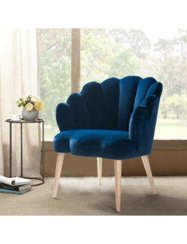 Flora Scalloped Velvet Arm Chair   Navy by Generic