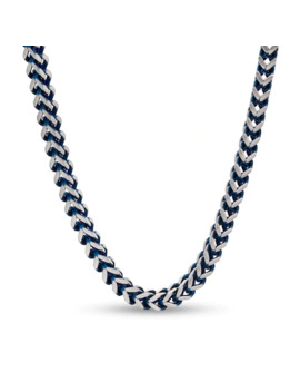 "Men's 5.0mm Foxtail Chain Necklace In Stainless Steel And Blue Ip   22"" by Zales"